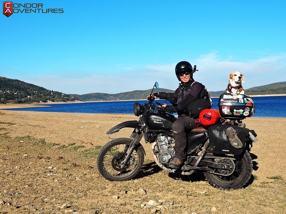 biker dog-brigi-explorealbania-motoros túra-condorriders-macedonia-mavrovo lake-mavrovo national park-mavrovo